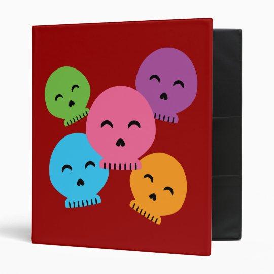 Colorful Happy Skulls Binder