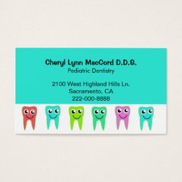 Cartoon teeth business cards templates zazzle colorful happy teeth custom dentist business card reheart Image collections