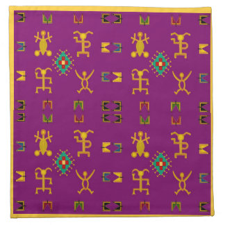 Colorful Happy Tribe Hieroglyphic Cocktail Napkins