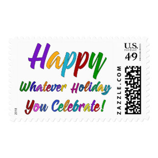 Colorful Happy Whatever Holiday You Celebrate! Postage