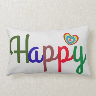Colorful Happy Word Print Rainbow Heart Reversible Lumbar Pillow