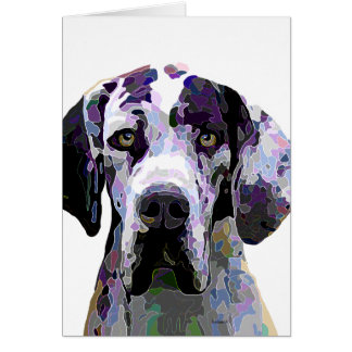 Colorful Harlequin Great Dane Face Card