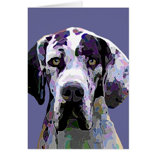 Colorful Harlequin Great Dane Face Stationery Note Card