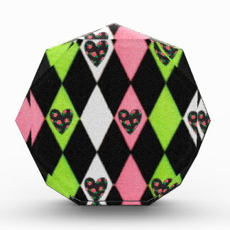 Colorful Harlequin Print with Rose Hearts Award