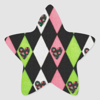 Colorful Harlequin Print with Rose Hearts Star Sticker