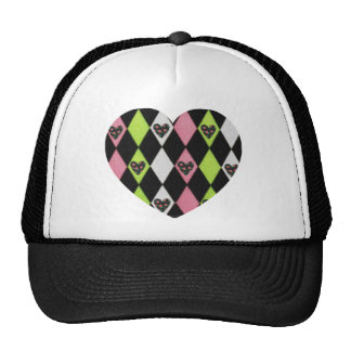 Colorful Harlequin Print with Rose Hearts Trucker Hat