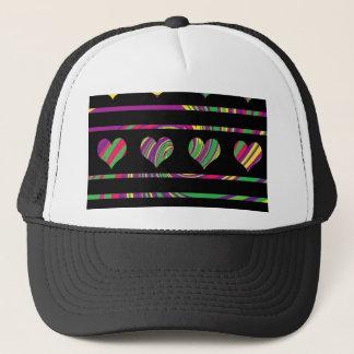 Colorful harts pattern trucker hat