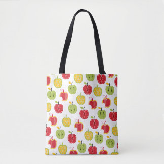 Colorful Harvest Apples Pattern Tote Bag