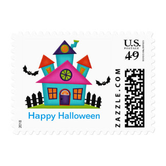 Colorful Haunted House Halloween postage