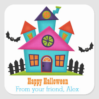 Colorful Haunted House Personalized Sticker