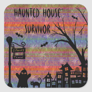 Colorful Haunted House Survivor Stickers
