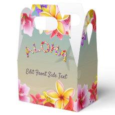 Colorful Hawaiian Flowers Wedding Themed Favor Box