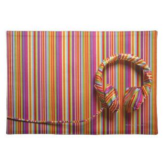 Colorful Headphones Cloth Placemat