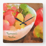 Colorful Healthy Fruits & Vegetables Watercolor Clocks
