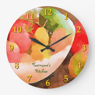 Colorful Healthy Fruits & Vegetables Watercolor Large Clock