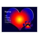 COLORFUL HEART AND PAW LARGE BUSINESS CARDS (Pack OF 100)