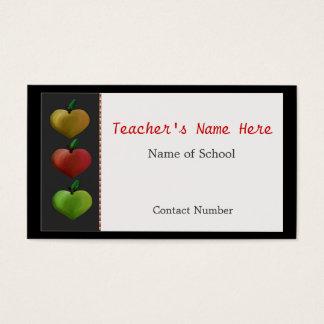 Colorful Heart Apples Teacher's Business Card