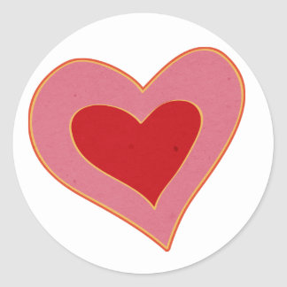 colorful heart classic round sticker