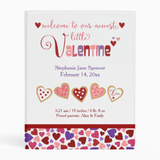 Colorful Heart Cookies Valentine's Baby Photos Mini Binder