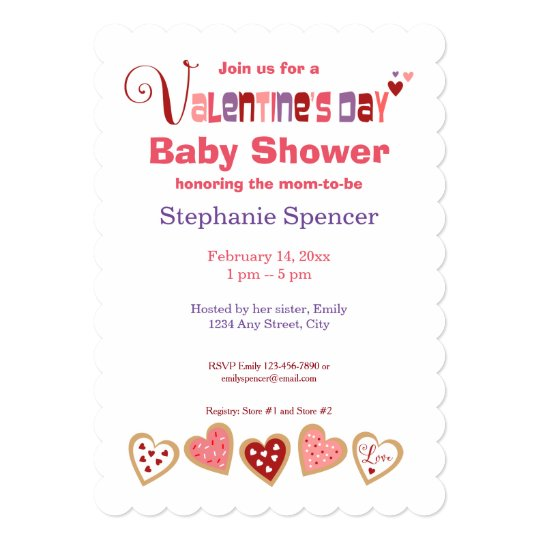 Colorful Heart Cookies Valentine S Day Baby Shower Invitation
