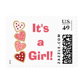 Colorful Heart Cookies Valentines Day It's a Girl Postage