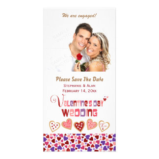 Colorful Heart Cookies Valentine's Day Wedding Card