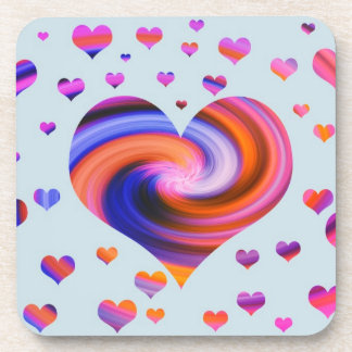 Colorful Heart Design Beverage Coaster