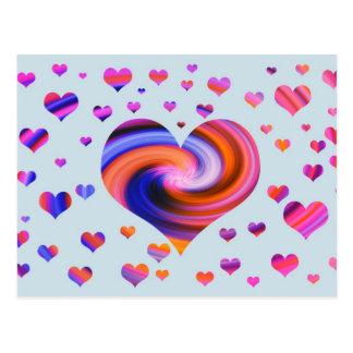 Colorful Heart Design Postcard