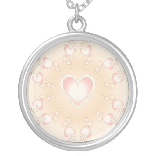 Colorful heart design round pendant necklace
