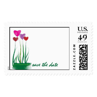 Colorful Heart Garden Flowers Postage Stamp