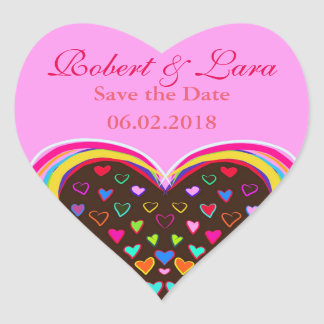 colorful heart love save the date wedding sticker