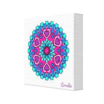 Colorful Heart Mandala Canvas Print