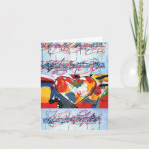 Colorful heart music sheet greeting cards