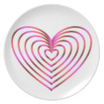 Colorful heart pattern dinner plate