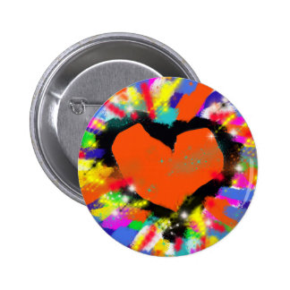 colorful heart, peace and love button