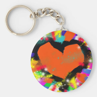 colorful heart, peace and love keychain