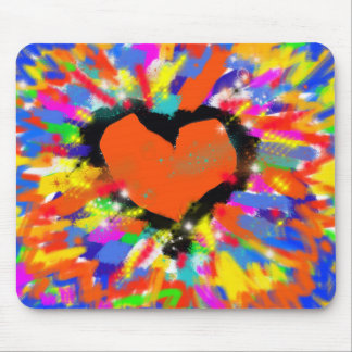colorful heart, peace and love mouse pad