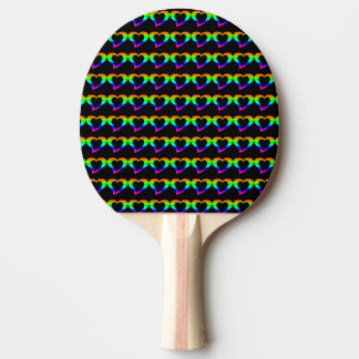Colorful heart ping pong paddle