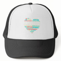Colorful Heart Puzzle Autistic Autism Awareness Trucker Hat