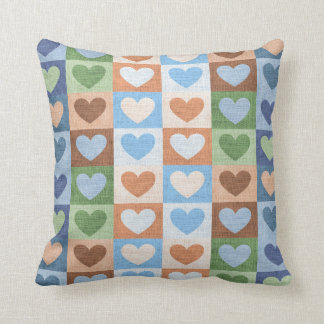 Colorful Heart Rectangles Pattern Pillow