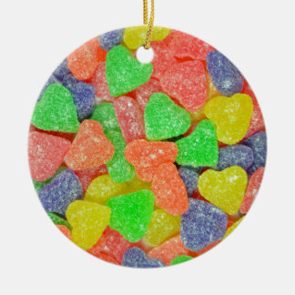 Colorful heart shaped candy ceramic ornament