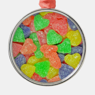 Colorful heart shaped candy metal ornament