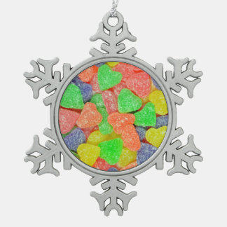 Colorful heart shapes candy christmas ornament