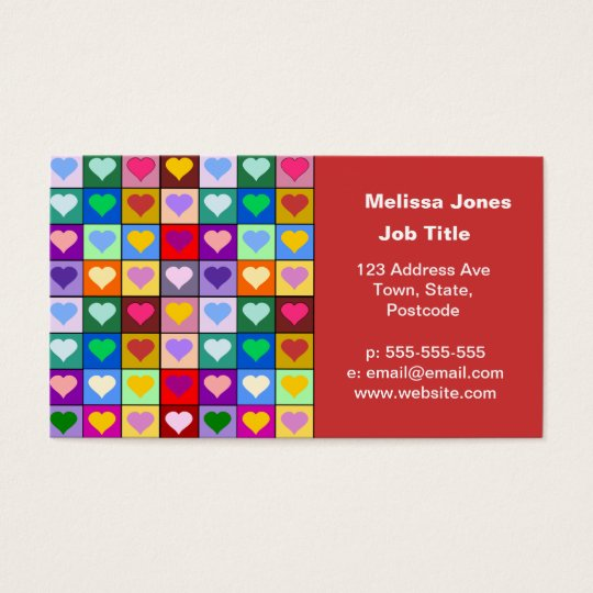 Colorful Heart Squares Business Card