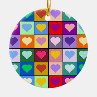 Colorful Heart Squares Ceramic Ornament