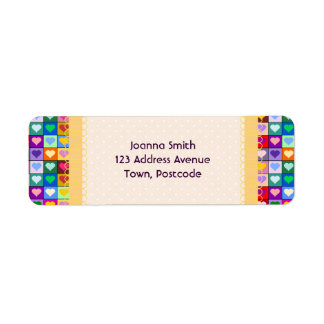 Colorful Heart Squares Label