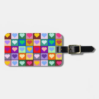 Colorful Heart Squares Travel Bag Tags