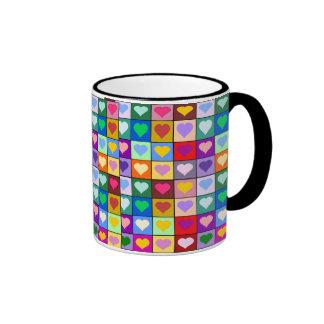 Colorful Heart Squares Ringer Coffee Mug