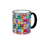 Colorful Heart Squares Mugs