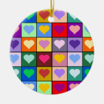 Colorful Heart Squares Double-Sided Ceramic Round Christmas Ornament